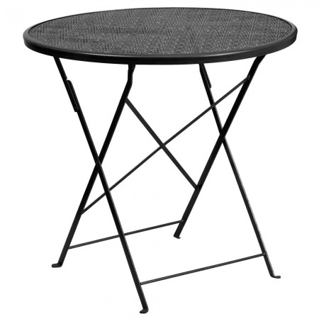 """Flash Furniture CO-4-BK-GG 30"""" Round Black Indoor-Outdoor Steel Folding Patio Table"""