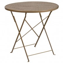 """Flash Furniture CO-4-GD-GG 30"""" Round Gold Indoor-Outdoor Steel Folding Patio Table"""