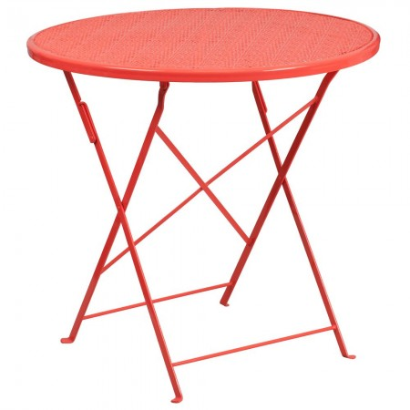"""Flash Furniture CO-4-RED-GG 30"""" Round Coral Indoor-Outdoor Steel Folding Patio Table"""