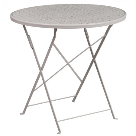 "Flash Furniture CO-4-SIL-GG 30"" Round Silver Indoor-Outdoor Steel Folding Patio Table"