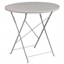"""Flash Furniture CO-4-SIL-GG 30"""" Round Silver Indoor-Outdoor Steel Folding Patio Table"""