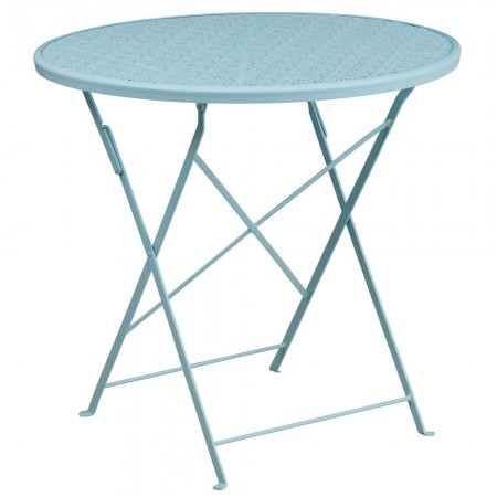 "Flash Furniture CO-4-SKY-GG 30"" Round Sky Blue Indoor-Outdoor Steel Folding Patio Table"
