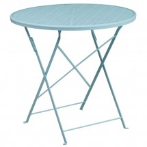 """Flash Furniture CO-4-SKY-GG 30"""" Round Sky Blue Indoor-Outdoor Steel Folding Patio Table"""