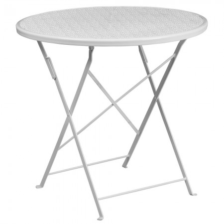 """Flash Furniture CO-4-WH-GG 30"""" Round White Indoor-Outdoor Steel Folding Patio Table"""