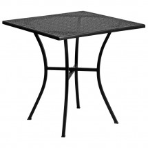 """Flash Furniture CO-5-BK-GG 28"""" Square Black Indoor-Outdoor Steel Patio Table"""