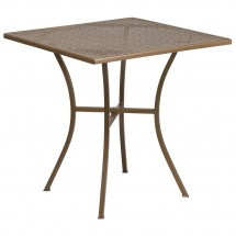 """Flash Furniture CO-5-GD-GG 28"""" Square Gold Indoor-Outdoor Steel Patio Table"""