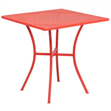 "Flash Furniture CO-5-RED-GG 28"" Square Coral Indoor-Outdoor Steel Patio Table"