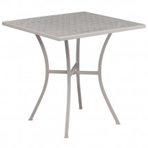 """Flash Furniture CO-5-SIL-GG 28"""" Square Silver Indoor-Outdoor Steel Patio Table"""