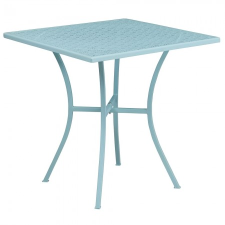 """Flash Furniture CO-5-SKY-GG 28"""" Square Sky Blue Indoor-Outdoor Steel Patio Table"""