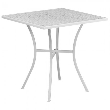 """Flash Furniture CO-5-WH-GG 28"""" Square White Indoor-Outdoor Steel Patio Table"""