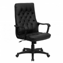Flash Furniture CP-A136A01-GG High Back Traditional Black Leather Executive Swivel Office Chair