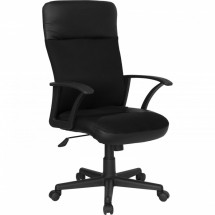Flash Furniture CP-A142A01-GG High Back Black Leather / Mesh Combination Executive Swivel Office Chair