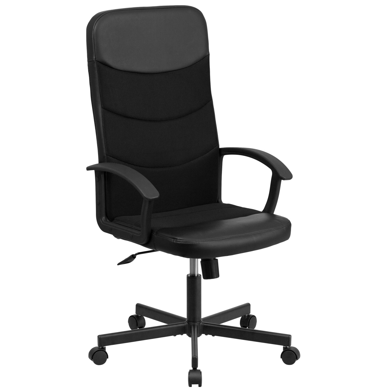Flash Furniture CP-A301A01-BK-GG Black High Back Vinyl Executive Chair with Mesh Inserts