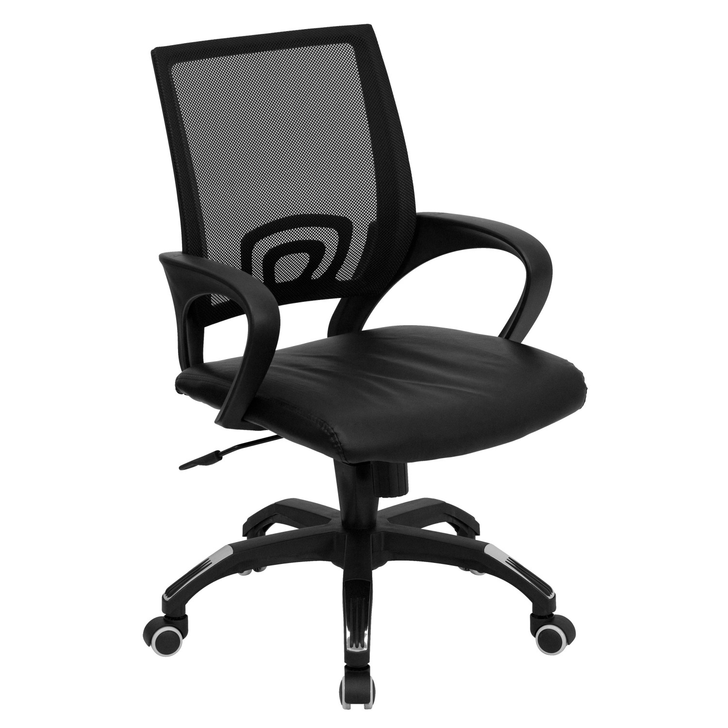 Flash Furniture CP-B176A01-BLACK-GG Mid-Back Black Mesh Computer Chair with Black Leather Seat