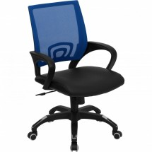 Flash Furniture CP-B176A01-BLUE-GG Mid-Back Blue Mesh Computer Chair with Black Leather Seat