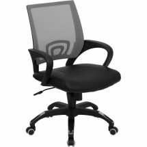 Flash Furniture CP-B176A01-GRAY-GG Mid-Back Gray Mesh Computer Chair with Black Leather Seat