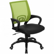 Flash Furniture CP-B176A01-GREEN-GG Mid-Back Green Mesh Computer Chair with Black Leather Seat