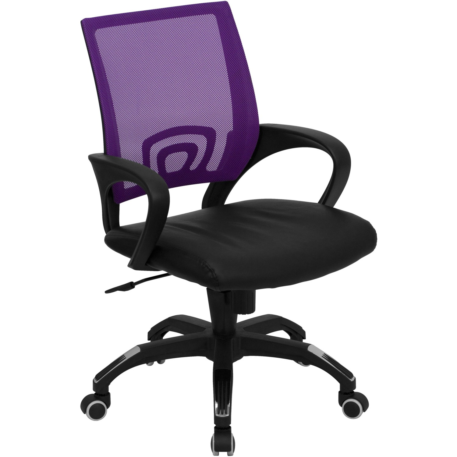 Flash Furniture CP-B176A01-PURPLE-GG Mid-Back Purple Mesh Computer Chair with Black Leather Seat