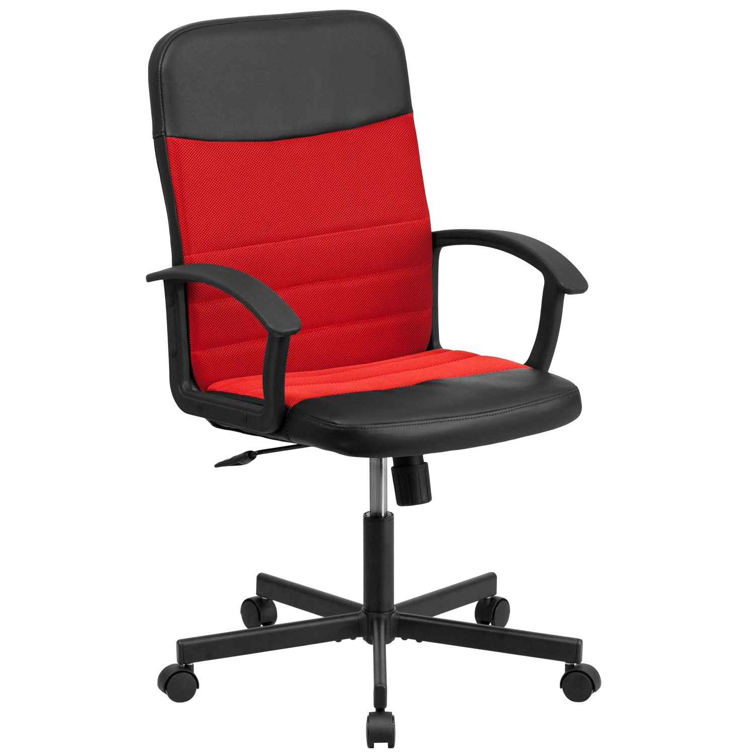 Flash Furniture CP-B301A01-BK-RD-GG Black Mid-Back Vinyl Task Chair with Red Mesh Inserts