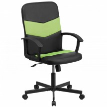 Flash Furniture CP-B301C01-BK-GN-GG Black Mid-Back Vinyl Task Chair with Green Mesh Inserts