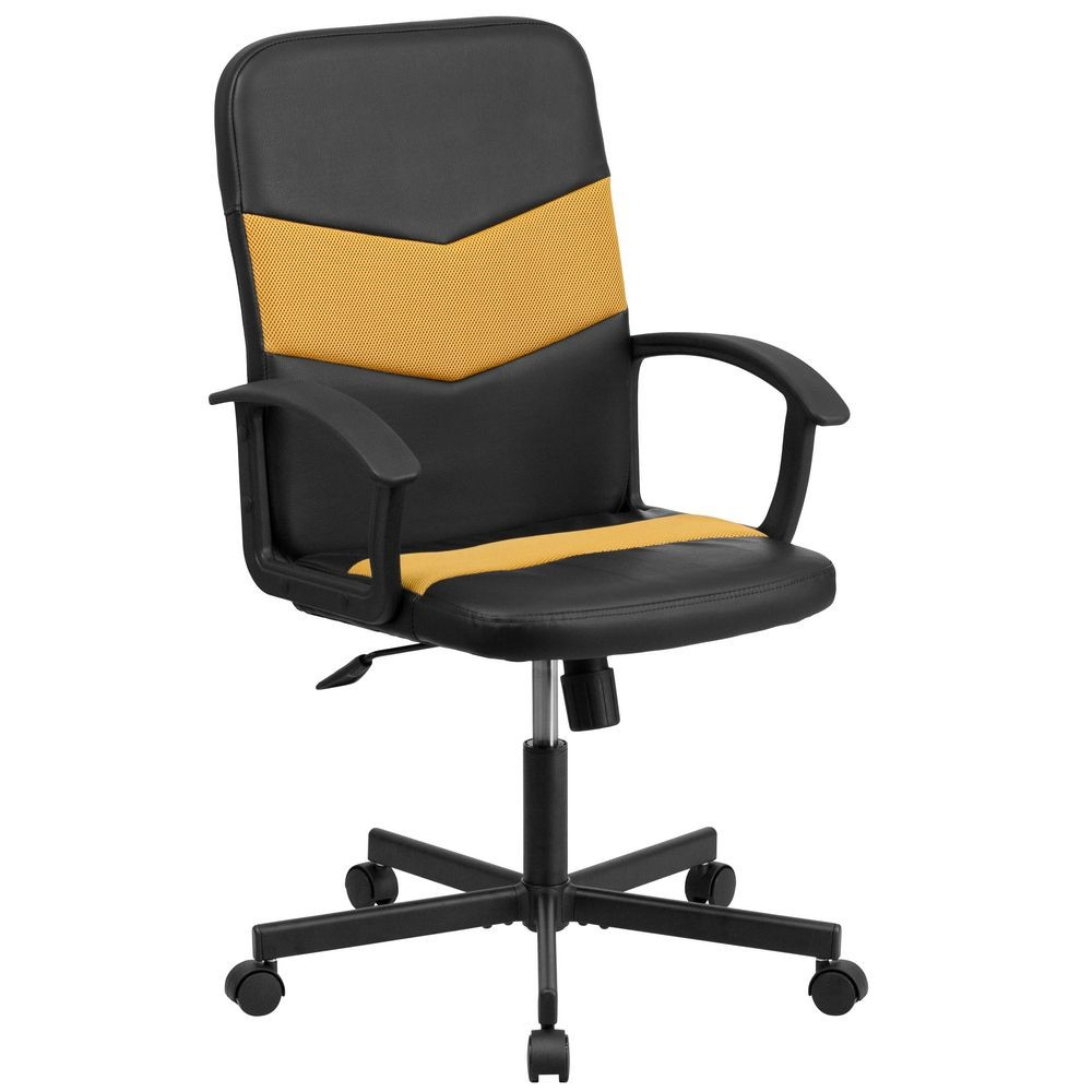 Flash Furniture CP-B301C01-BK-OR-GG Black Mid-Back Vinyl Task Chair with Orange Mesh Inserts