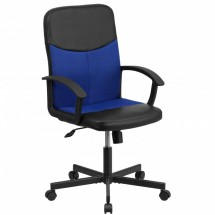 Flash Furniture CP-B301E01-BK-BL-GG Black Mid-Back Vinyl Task Chair with Blue Mesh Inserts