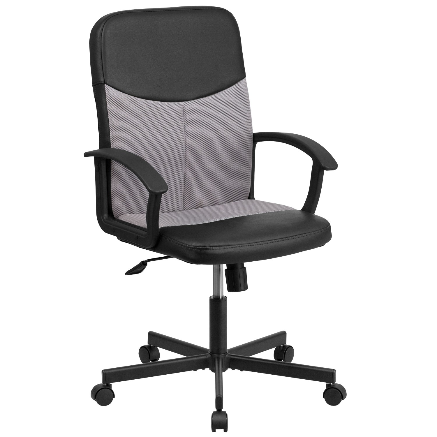 Flash Furniture CP-B301E01-BK-GY-GG Black Mid-Back Vinyl Task Chair with Light Gray Mesh Inserts