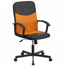Flash Furniture CP-B301E01-BK-OR-GG Black Mid-Back Vinyl Task Chair with Orange Mesh Inserts