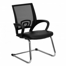 Flash Furniture CP-D119A01-BK-GG Black Leather Office Side Chair with Mesh Back and Sled Base