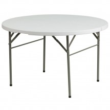Flash Furniture DAD-122RZ-GG Round Bi-Fold Granite White Plastic Folding Table, 48''