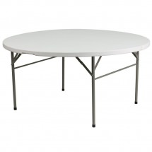 Flash Furniture DAD-154Z-GG Round Bi-Fold Granite White Plastic Folding Table, 60''