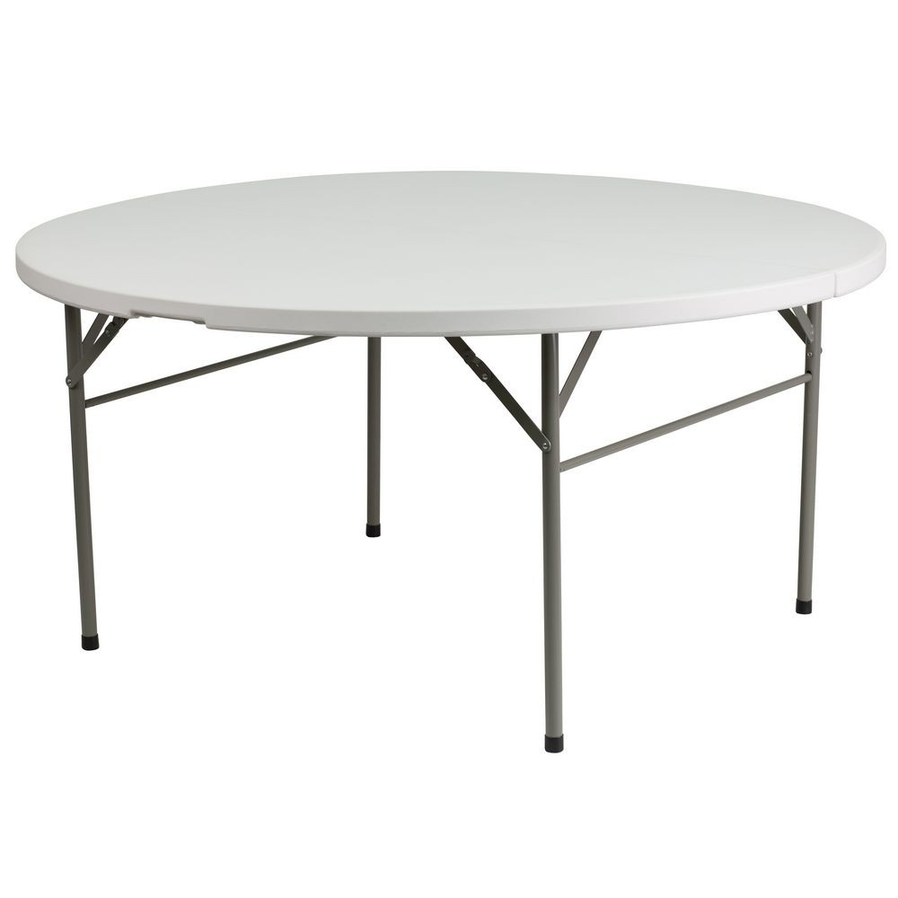 Flash Furniture DAD-154Z-GG Round Bi-Fold Granite White Plastic Folding Table 60""