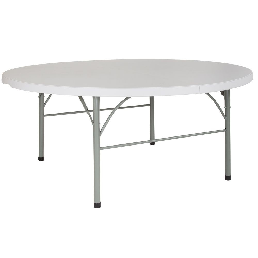 Flash Furniture DAD-183RZ-GG Round Bi-Fold Granite White Plastic Folding Table 72""