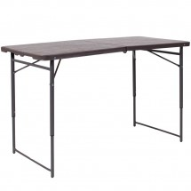 """Flash Furniture DAD-LF-122Z-GG 23.5""""W x 48.25"""" Height Adjustable Bi-Fold Brown Wood Grain Plastic Folding Table with Carrying Handle"""