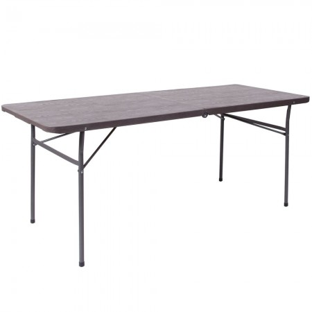 Flash Furniture DAD-LF-183Z-GG Brown Wood Grain Plastic Folding Table with Carrying Handle 30''W x 72''L