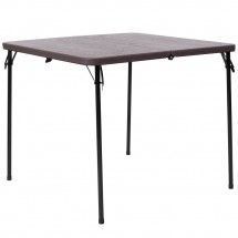 """Flash Furniture DAD-LF-86-GG 34"""" Square Bi-Fold Brown Wood Grain Plastic Folding Table with Carrying Handle"""