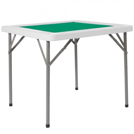 """Flash Furniture DAD-MJZ-88-GG 34.5"""" Square Granite White Folding Game Table with Green Playing Surface"""
