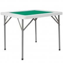 Flash Furniture DAD-MJZ-88-GG 34.5 Square Granite White Folding Game Table with Green Playing Surface