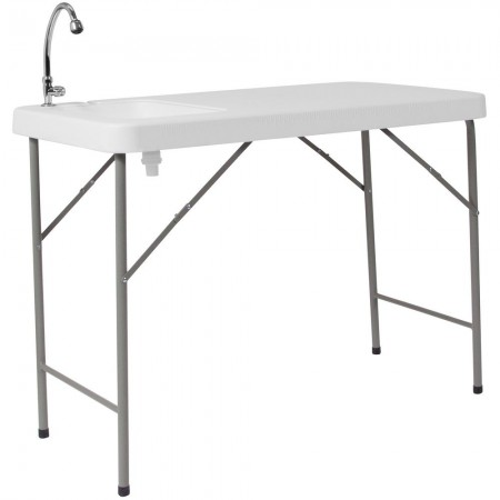 "Flash Furniture DAD-PYZ-116-GG 23""W x 45""L Granite White Plastic Folding Table with Sink"