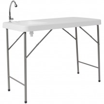 """Flash Furniture DAD-PYZ-116-GG 23""""W x 45""""L Granite White Plastic Folding Table with Sink"""
