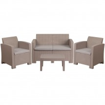 Flash Furniture DAD-SF-112T-CRC-GG 4 Piece Outdoor Faux Rattan Chair, Loveseat and Table Set in Light Gray