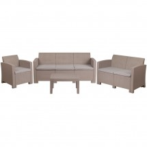 Flash Furniture DAD-SF-123T-CRC-GG 4 Piece Outdoor Faux Rattan Chair, Loveseat, Sofa and Table Set in Light Gray