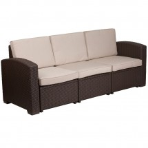 Flash Furniture DAD-SF1-3-GG Chocolate Brown Faux Rattan Sofa with All-Weather Beige Cushion