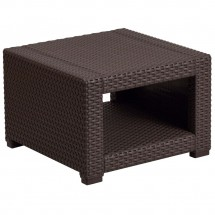 Flash Furniture DAD-SF1-S-GG Chocolate Brown Faux Rattan End Table