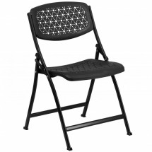 Flash Furniture DAD-YCD-59-BK-GG Hercules Series Black Designer Comfort Molded Folding Chair