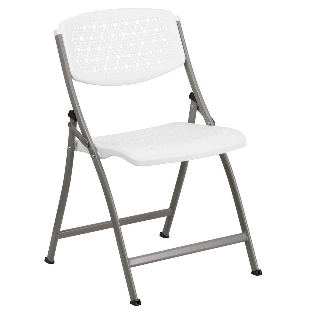 Flash Furniture DAD-YCD-59-GG Hercules Series White Designer Comfort Molded Folding Chair