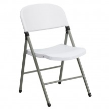 Flash Furniture DAD-YCD-70-WH-GG HERCULES Series 330 lb. Capacity White Plastic Folding Chair with Gray Frame