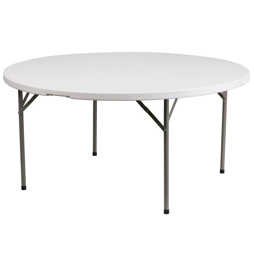 Flash Furniture DAD-YCZ-1-GW-GG Round Granite White Plastic Folding Table 60""