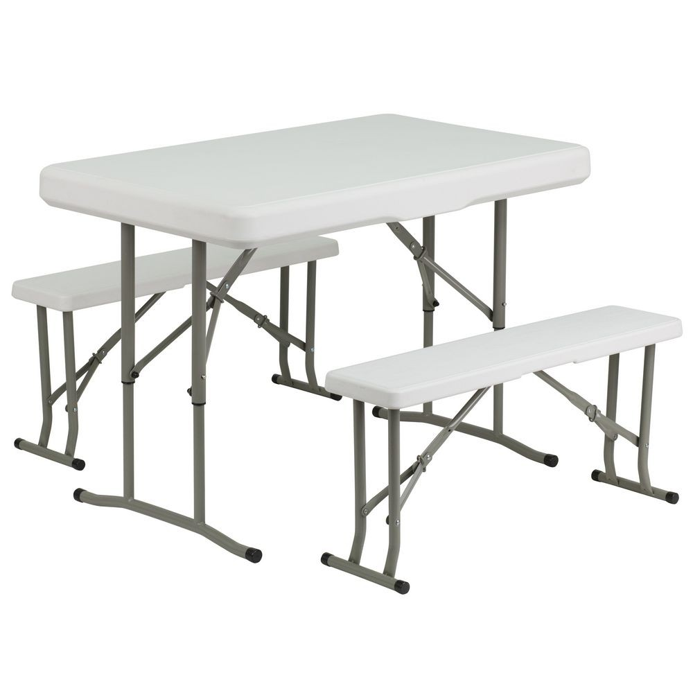 Flash Furniture DAD-YCZ-103-GG Plastic Folding Table and Benches