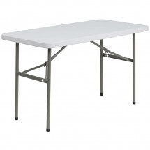 "Flash Furniture DAD-YCZ-122-2-GG Granite White Plastic Folding Table, 24""W x 48""L"